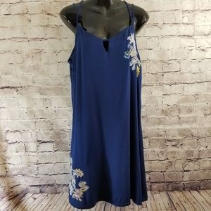 Copper Key Navy Floral Accents Sun Dress